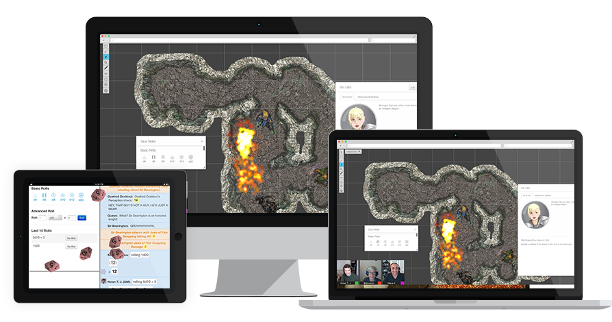 Roll20 works on computer, tablet, and phone.